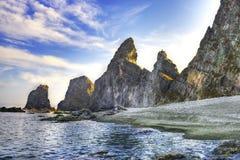 Pacific ocean landscape - rocks at coastline Stock Photos