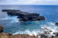 Pacific ocean landscape vue from cliffs in Easter island. Chile royalty free stock image