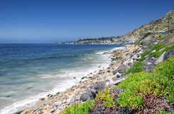 Pacific Ocean and Malibu California Coastline. The Pacific Ocean and coastline of california along the pacific coast highway near malibu Stock Image