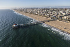 Pacific Ocean and Manhattan Beach Pier in California Stock Photos