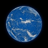 Pacific Ocean on planet Earth. Pacific Ocean on blue planet Earth isolated on black background. Highly detailed planet surface. Elements of this image furnished royalty free illustration