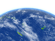 Pacific Ocean on planet Earth. Pacific Ocean. 3D illustration with detailed planet surface. Elements of this image furnished by NASA Royalty Free Stock Photos