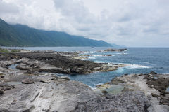 Pacific ocean Shihtiping, Taiwan. Volcanic rock formations at Shihtiping, Hualien bay Pacific Ocean in Taiwan Stock Image