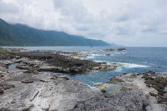 Pacific ocean Shihtiping, Taiwan. Volcanic rock formations at Shihtiping, Hualien bay Pacific Ocean in Taiwan stock image