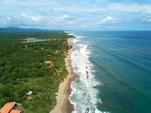 Pacific ocean shoreline. Aerial drone view. Travel destination in central america Stock Images