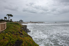 Pacific Ocean Shoreline from West Cliff, Santa Cruz, California Stock Photo