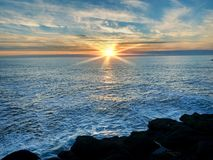 Pacific Ocean sunset stock photos