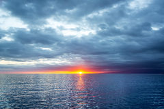 Pacific Ocean Sunset in Galapagos Stock Photography