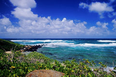 Pacific Ocean view. The warm waters of the South Pacific are seen from the eastern shoreline of Kauai, Hawaii stock photo