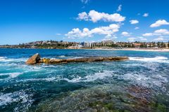 Pacific Ocean view in Sydney with beautiful prominent rocks and Coogee beach in background in Australia. Pacific Ocean view in Sydney with beautiful prominent stock image