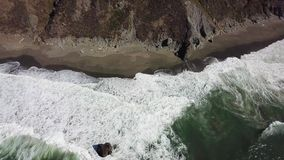Aerial View of Ocean and Northern California Beach stock footage