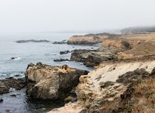 Rocky Coastline of Northern California in Sonoma. The Pacific Ocean washes against the wild, rocky coast of northern California. This beautiful region of the royalty free stock photo