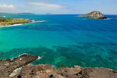 Pacific Ocean Water Off the Coast of Oahu in Hawaii Royalty Free Stock Photos