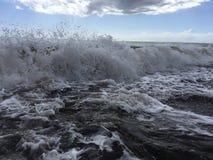 Pacific Ocean Waves with Dirt from Waimea River at Waimea Beach on Kauai Island in Hawaii. Royalty Free Stock Photography
