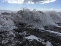 Pacific Ocean Waves with Dirt from Waimea River at Waimea Beach on Kauai Island in Hawaii. Royalty Free Stock Photo