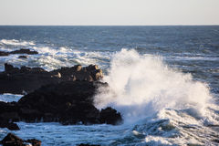 Pacific Ocean Waves and Northern California Coastline Stock Photo