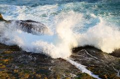 Pacific Ocean Waves on Rocks. Blue Pacific Ocean water, with white foam waves crashing on and flowing over ocean side rocks in the late afternoon. The actual Stock Image