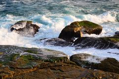 Pacific Ocean Waves on Rocks. Blue Pacific Ocean water, with white foam waves crashing on and flowing over ocean side rocks in the late afternoon. The actual Stock Images