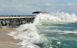 Pacific Ocean Waves, San Pedro Fishing Pier Royalty Free Stock Image