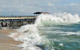 Pacific Ocean Waves, San Pedro Fishing Pier. San Pedro, California royalty free stock image