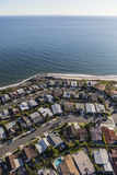 Pacific Palisades Ocean View Homes Aerial in Los Angeles Califor Stock Photography