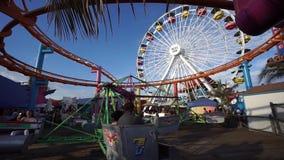 Pacific Park amusement park on the Santa Monica Pier in Santa Monica, California stock footage