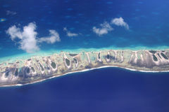 Pacific Rangiroa. Magnificent view on Pacific Rangiroa. Aerial view. French Polynesia Royalty Free Stock Photos