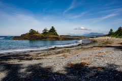 Pacific rim national park. Look at ocean, beach, island, and mountains royalty free stock images