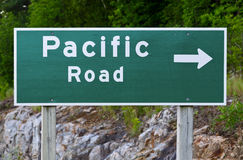 Pacific Road Sign Royalty Free Stock Images