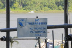 Pacific Salmon Research Restricted Area. A sign posted by the Pacific Salmon Commission while conducted studies on the Fraser River near Mission, BC on July 16 Stock Photo