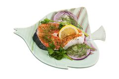 Pacific Salmon steak Stock Images