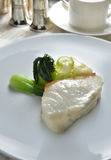 Pacific Seabass. Pan-fried pacific seabass fish vegetable stock photo