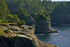 Pacific Shore Cliffs. Northwest Pacific Shore Cliffs - Washington State, USA. Scenic Shoreline royalty free stock images