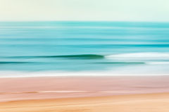 Pacific Shorebreak. A tranquil seascape of the Pacific ocean off of California.  Image made using camera panning motion combined with a long expsure Stock Photography