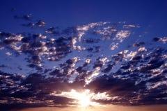 Pacific Sunrise. Sunrays in the Sky, Sydney, Australia stock photo