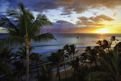 Pacific sunset at kaanapali beach. On maui in hawaii stock image