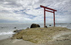 Pacific and Torii, Japan. Torii (shinto gate) on the bank of Pacific ocean, Aichi prefecture, Japan Royalty Free Stock Photo