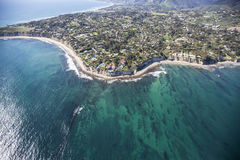 Pacific Waters Aerial Point Dume Malibu California. Aerial view of Point Dume and clear Pacific Ocean water in scenic Malibu near Los Angeles in Southern Royalty Free Stock Image
