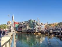 Pacific Wharf, Disney California Adventure Park. ANAHEIM, CALIFORNIA - FEBRUARY 13: Pacific Wharf  at Disney California Adventure Park on February 13, 2016 in Royalty Free Stock Images