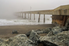 Pacifica Municipal Pier In Fog. Royalty Free Stock Photo