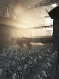 Pacificación urbana - escena de la ciudad de la ciencia ficción Imagen de archivo