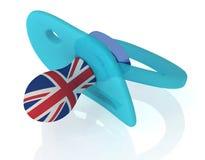 Pacificador del bebé con la bandera británica ilustración del vector