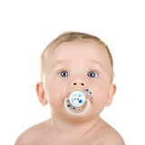 Pacifier. Baby boy with pacifier isolated on a white background royalty free stock photography