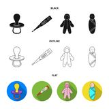 Pacifier, electronic thermometer, children overalls, diaper.Baby born set collection icons in black,flat,outline style. Vector symbol stock illustration Stock Images
