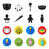 Pacifier, electronic thermometer, children overalls, diaper.Baby born set collection icons in black,flet style vector. Symbol stock illustration Royalty Free Stock Image