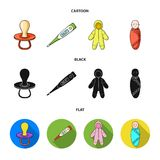 Pacifier, electronic thermometer, children overalls, diaper.Baby born set collection icons in cartoon,black,flat style. Vector symbol stock illustration Royalty Free Stock Photo