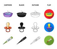 Pacifier, electronic thermometer, children overalls, diaper.Baby born set collection icons in cartoon,black,outline,flat. Style vector symbol stock illustration Stock Images