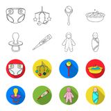 Pacifier, electronic thermometer, children overalls, diaper.Baby born set collection icons in outline,flat style vector. Symbol stock illustration Royalty Free Stock Photo
