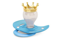 Pacifier with golden crown, 3D rendering Stock Image