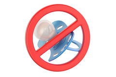 Pacifier with prohibition sign, 3D rendering Stock Images
